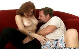 Striking redhead Ginger likes playing with her bald poontang