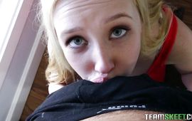 Filthy blond Samantha Rone with curvy tits is eagerly impaled on a hard dick