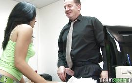 Ambitious Andrea Kelly with firm natural tits drops her undies and stokes a thick handsome rod