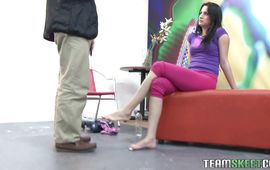 Luxurious brunette wench Camila Santiago wears only heels while being dicked with vigor