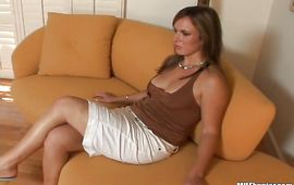 Lusty brown-haired maid April enjoys riding a large and hard pulsating prick