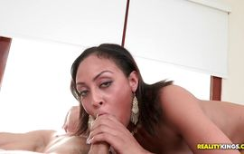 Breathtaking dark-haired gal Cherry Hilson spreads her tanned legs for a hard pecker