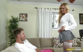 Recent bombshell Cherie Deville is sucking a big hard slim jim and listening to stud's loud groans