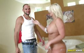Frisky blonde Julie Cash yearns for some sweet steamy fucking