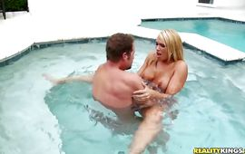 Lovable golden-haired gf Melanie Monroe and male are making a home video for the 1st time