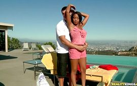Playsome black Mckenzie Sweet is moody to film when sharing a large rod