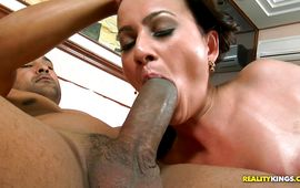 Salacious Natany Lanza enjoys sucking intensive a large and hard tool