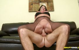 Kinky brown-haired Margo Sullivan takes it up her beaver hardcore style