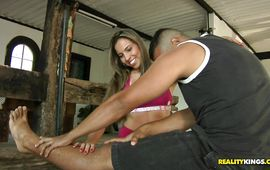 Sensational latin Kiara enjoys riding a pulsating and hard dong