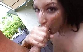 Playful brown-haired bitch Ann Marie Rios eagerly receives a thick beef bayonet from behind