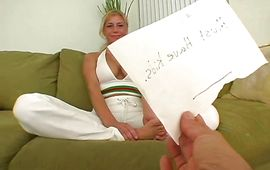 Beguiling blond Gina loves sucking large fat boner with passion