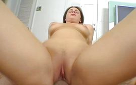 Lewd brown-haired beauty Ava Miller likes to suck mate