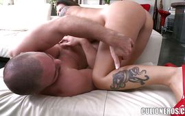 Ambitious brown-haired Christy Mack with curvy tits is rubbing her clitoris while getting fucked very hard