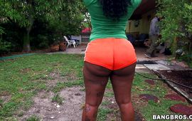 Filthy ebony Diamond Monroe is getting banged in a doggy style position 'cuz she needs some cash