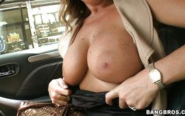 Sultry brown-haired Gia Malone is being pounded in her juicy beaver doggy style