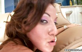 Raunchy Adriana Deville is getting fucked from the back by a guy
