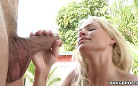 Stunning blond cougar Rhylee Richardson is bouncing up and down all over boyfriend's shaft and moaning