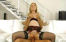 Vigorous hottie Nina Hartley sucks and rides a monster hard penis