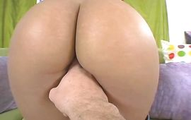 Staggering latin brown-haired maiden Sandra Romain is sucking mate's beefy pole
