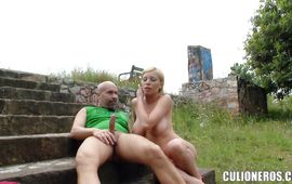 Breathtaking blond Donna Bell competes at who can take more stick