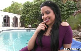 Glamor dark-haired gal Abella Anderson took off her clothes and started riding dude's large love rocket