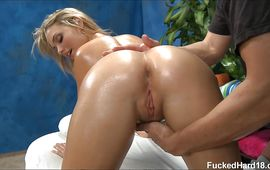 Savory blond Mia Malkova with wet fanny receives a pole